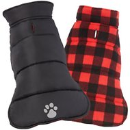 Frisco Reversible Puffer Dog Coat, Medium, Black/Red Plaid