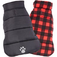 Frisco Reversible Puffer Dog Coat, Large, Black/Red Plaid