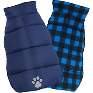 Frisco Reversible Puffer Dog Coat, X-Large, Dark Blue/Plaid
