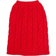 Frisco Ultra-Soft Cable Knitted Dog Sweater, Medium, Red