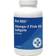 Pet MD Omega-3 Fish Oil Softgel Dog Supplement, 180 count
