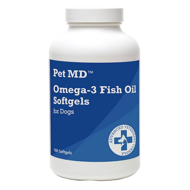 Pet md omega 3 fish oil softgel dog supplement 180 count for Fish oil for dog allergies