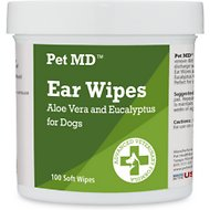 Pet MD Aloe Vera & Eucalyptus Dog Ear Wipes, 100 count