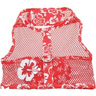 Doggie Design Cool Mesh Netted Aloha Hibiscus Dog Harness with Matching Leash, Red, Large