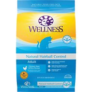 Wellness Natural Hairball Control Chicken Meal & Rice Recipe Dry Cat Food, 12-lb bag