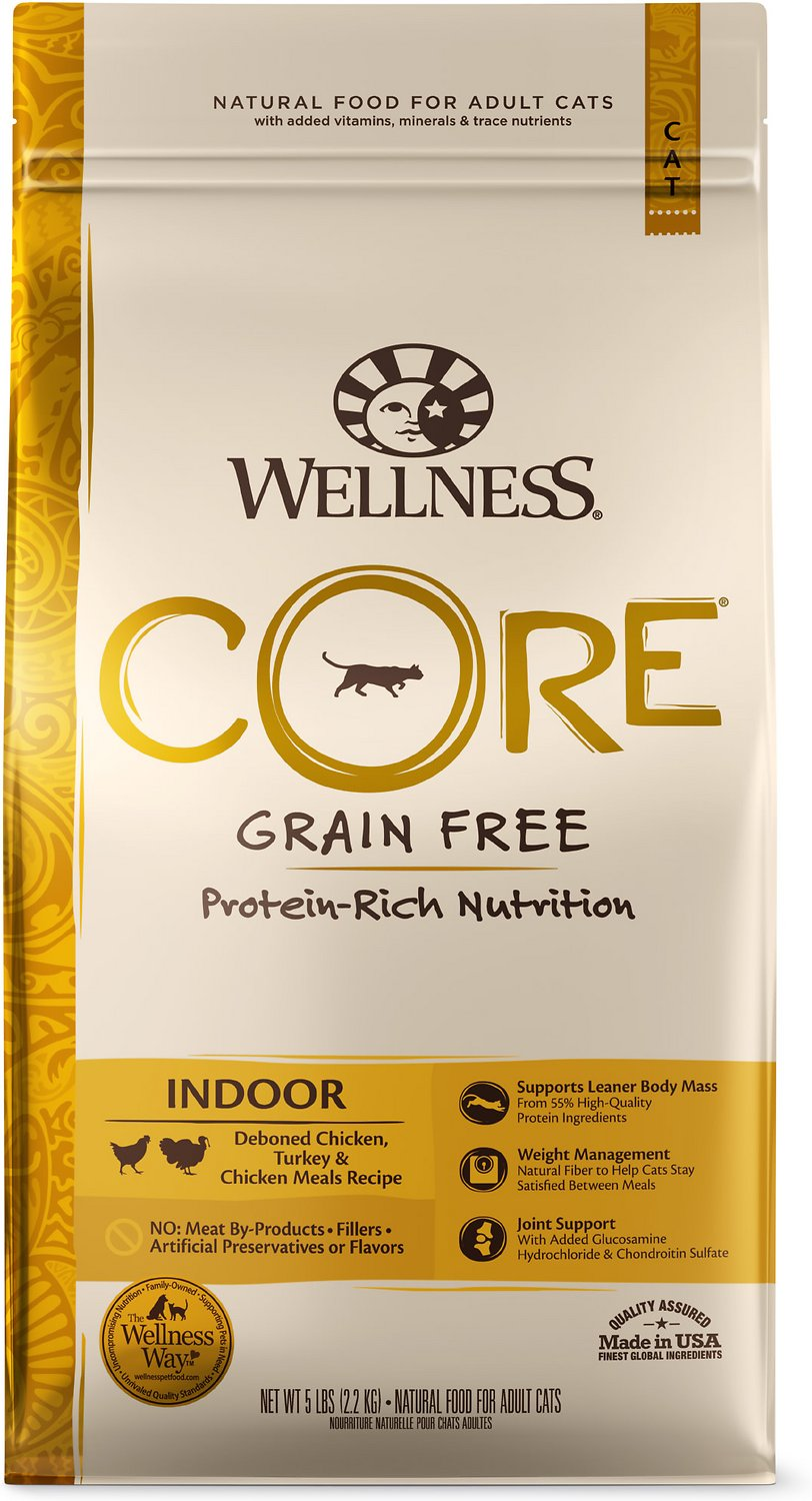 Wellness CORE Grain-Free Chicken, Turkey & Chicken Meal Indoor Formula Dry  Cat Food, 5-lb bag