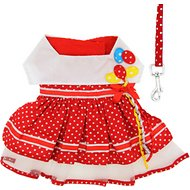 Doggie Design Polka Dot Balloon Dog Dress with Matching Leash, Medium