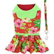 Doggie Design Hawaiian Hibiscus Dog Dress with Matching Leash, Medium, Red