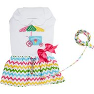 Doggie Design Ice Cream Cart Dog Dress with Matching Leash, Medium