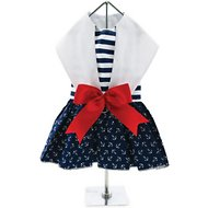Doggie Design Nautical Dog Dress with Matching Leash, Medium
