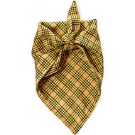 penn + pooch The Henry Plaid Dog Handkerchief, Gold, Small