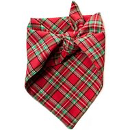 penn + pooch The Henry Dog Plaid Dog Handkerchief, Red, Small