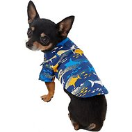 Doggie Design Hawaiian Island Shark Dog & Cat Camp Shirt, XX-Small