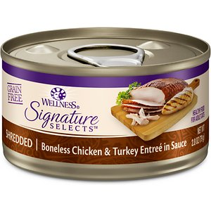 Wellness CORE Signature Selects Shredded Boneless Chicken & Turkey Entree in Sauce Grain-Free Canned Cat Food, 2.8-oz, case of 12; Make every meal count with Wellness CORE Signature Selects Shredded Boneless Chicken & Turkey Entree in Sauce Grain-Free Canned Cat Food. Taking a simple, holistic approach to pet food, this gourmet cat food naturally delivers the variety that your cat craves. It's prepared by hand and packed with taste, including delicate shreds of real meat, and sunflower oil for plenty of essential fatty acids. Combined, the carefully sourced ingredients deliver the energy and nutrition needed for a happy life filled with growth and play—and never contains any by-products, wheat, corn or soy.