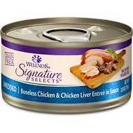 Wellness CORE Signature Selects Shredded Boneless Chicken & Chicken Liver Entree in Sauce Grain-Free Canned Cat Food, 2.8-oz, case of 12