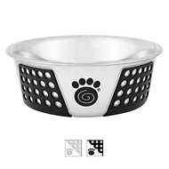 PetRageous Designs Fiji Non-Skid Stainless Steel Bowl, Black/Light Gray, 3.75 cup