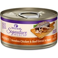 Wellness Signature Selects Shredded White Meat Chicken & Beef Entree in Sauce Grain-Free Canned Cat Food, 2.8-oz, case of 12