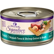 Wellness CORE Signature Selects Flaked Skipjack Tuna & Shrimp Entree in Broth Grain-Free Canned Cat Food, 2.8-oz, case of 12