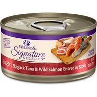 Wellness CORE Signature Selects Flaked Skipjack Tuna & Wild Salmon Entree in Broth Grain-Free Canned Cat Food, 2.8-oz, case of 12