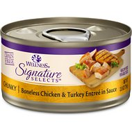 Wellness CORE Signature Selects Chunky Boneless Chicken & Turkey Entree in Sauce Grain-Free Canned Cat Food, 2.8-oz, case of 12