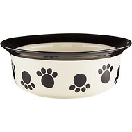 PetRageous Designs Paws n' Around Pet Bowl, Black, 2-cups