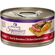 Wellness CORE Signature Selects Chunky Beef & Boneless Chicken Entree in Sauce Grain-Free Canned Cat Food, 2.8-oz, case of 12
