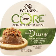 Wellness CORE Divine Duos Chicken Pate & Diced Turkey in Gravy Grain-Free Wet Cat Food, 2.8-oz, case of 12