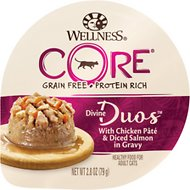 Wellness CORE Divine Duos Chicken Pate & Diced Salmon Grain-Free Wet Cat Food, 2.8-oz, case of 12