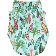 Doggie Design Hawaiian Surfboard & Palms Camp Shirt, XX-Small