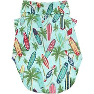 Doggie Design Hawaiian Surfboard & Palms Camp Shirt, Small