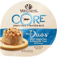 Wellness CORE Divine Duos Tilapia Pate & Diced Ahi Tuna in Gravy Grain-Free Wet Cat Food, 2.8-oz, case of 12