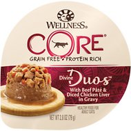 Wellness CORE Divine Duos Beef Pate & Diced Chicken Liver Grain-Free Wet Cat Food, 2.8-oz, case of 12