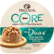 Wellness CORE Divine Duos Tuna Pate & Diced Salmon in Gravy Grain-Free Wet Cat Food, 2.8-oz, case of 12