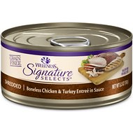 Wellness Signature Selects Shredded White Meat Chicken & Turkey Entree in Sauce Grain-Free Canned Cat Food, 5.3-oz, case of 12