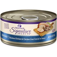 Wellness CORE Signature Selects Shredded Boneless Chicken & Chicken Liver Entree in Sauce Grain-Free Canned Cat Food, 5.3-oz, case of 12
