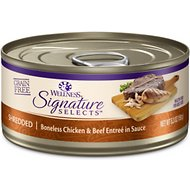 Wellness Signature Selects Shredded White Meat Chicken & Beef Entree in Sauce Grain-Free Canned Cat Food, 5.3-oz, case of 12