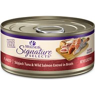 Wellness CORE Signature Selects Flaked Skipjack Tuna & Wild Salmon Entree in Broth Grain-Free Canned Cat Food, 5.3-oz, case of 12