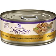 Wellness CORE Signature Selects Chunky Boneless Chicken & Turkey Entree in Sauce Grain-Free Canned Cat Food, 5.3-oz, case of 12