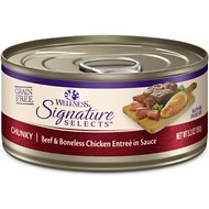 Wellness CORE Signature Selects Chunky Beef & Boneless Chicken Entree in Sauce Grain-Free Canned Cat Food, 5.3-oz, case of 12