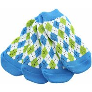 Doggie Design Non-Skid Dog Socks, Medium, Blue & Green Argyle