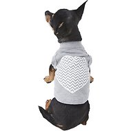 Mirage Pet Products Chevron Heart Dog Shirt, X-Small, Grey