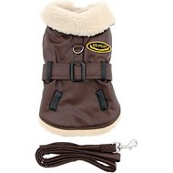 Doggie Design Faux Leather Bomber Dog Harness Coat and Leash, Medium
