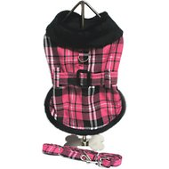 Doggie Design Plaid Dog Harness Coat with Matching Leash, Medium, Hot Pink Plaid