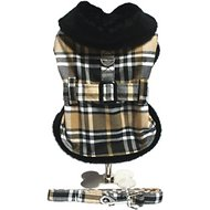 Doggie Design Plaid Dog Harness Coat with Matching Leash, X-Large, Brown Plaid