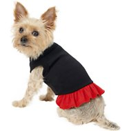 Mirage Pet Products Plain Dog & Cat Dress, Black & Red, Small