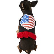 Mirage Pet Products American Flag Heart Dog & Cat Dress, Black & Red, X-Small