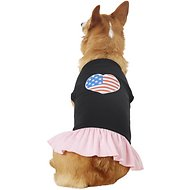 Mirage Pet Products American Flag Heart Dog & Cat Dress, Black & Pink, XX-Large