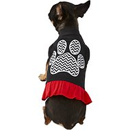 Mirage Pet Products Chevron Paw Dog Dress, X-Small, Black & Red