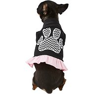 Mirage Pet Products Chevron Paw Dog & Cat Dress, Black & Pink, X-Small