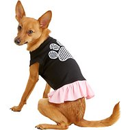 Mirage Pet Products Chevron Paw Dog & Cat Dress, Black & Pink, Medium